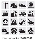vector black coal mining industry icons set