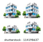 Four Cartoon Office Vector...