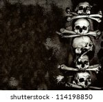 Human skulls and bones, Kutna Hora, Czech - stock photo