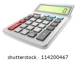 Calculator. Classic Calculator on white background. - stock photo