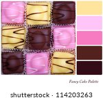 Small fancy cakes arranged in a checkerboard format. Colour palette with complimentary colour swatches. - stock photo