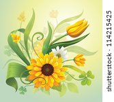 vector illustration of beautiful yellow field flowers, grass and green leaves - stock vector