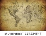 vintage map of the world 1814
