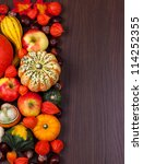 Thanksgiving border with copy space - stock photo