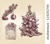 christmas tree for xmas design, with balls and gifts hand drawn  vector illustration - stock vector
