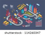 colorful isometric city  vector ... | Shutterstock .eps vector #114260347