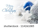 Blue and silver xmas decoration with copy space - stock photo