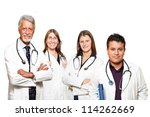 medical professionals standing isolated - stock photo