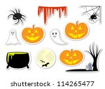 set of halloween isolated... | Shutterstock . vector #114265477