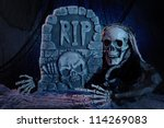 skull monster and tombstone... | Shutterstock . vector #114269083