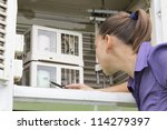 young woman meteorologist...   Shutterstock . vector #114279397