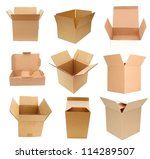 Opening of variety carton boxes - stock photo