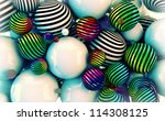 3d vintage spiral balls background. - stock photo