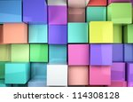 3d colored shiny cubes background - stock photo