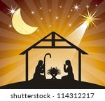 black silhouette nativity scene ... | Shutterstock .eps vector #114312217