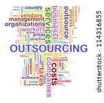 Illustration of wordcloud tags related to concept outsourcing - stock photo