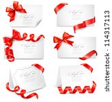 set of gift cards with red gift ... | Shutterstock .eps vector #114317113