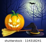 decorative halloween celebrate background with magic hat,pumpkin and broom - stock vector
