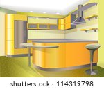 Yellow kitchen - stock vector