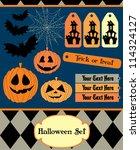 halloween set. vector... | Shutterstock .eps vector #114324127