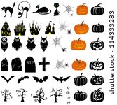happy halloween theme icon set. ... | Shutterstock .eps vector #114333283