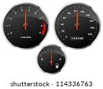 speedometer  tachometer and... | Shutterstock .eps vector #114336763