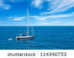 luxury yacht in open waters... | Shutterstock . vector #114340753
