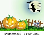 decorative halloween celebrate background with magic hat,pumpkin and broom and flying whitch - stock vector