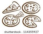 set of pizza doodle | Shutterstock .eps vector #114355927