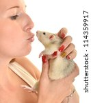 woman with her pet rat isolated ... | Shutterstock . vector #114359917