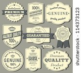 a set of vintage design labels ... | Shutterstock .eps vector #114373123