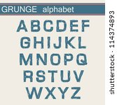 grunge alphabet | Shutterstock .eps vector #114374893