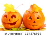 two orange halloween pumpkins... | Shutterstock . vector #114376993