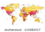Multicolored World Map. Vector...