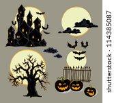 set of halloween elements | Shutterstock .eps vector #114385087