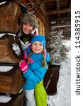 Winter, snow, apres ski - family fun at winter time - stock photo