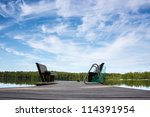Bridge with two benches - stock photo