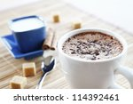 Cappuccino with foam for good morning - stock photo