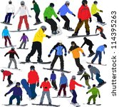 set of images with snowboarder... | Shutterstock .eps vector #114395263