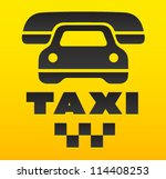 taxi cab sign  cause a car by... | Shutterstock .eps vector #114408253