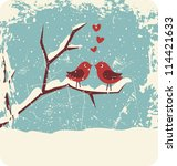 Illustration Of Two Cute Bird...