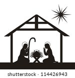 black silhouette nativity scene ... | Shutterstock .eps vector #114426943