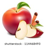 red apples and apples slices...   Shutterstock .eps vector #114468493
