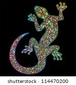 Gecko Geko Lizard Psychedelic Design - stock photo