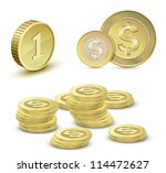 collection of gold coins.... | Shutterstock .eps vector #114472627