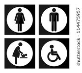 black square toilet sign with... | Shutterstock . vector #114475957