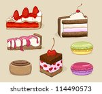 cakes and desserts set. more... | Shutterstock .eps vector #114490573