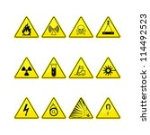yellow warning and danger icons ... | Shutterstock .eps vector #114492523