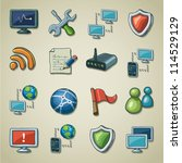 Freehand icons - Networking and security - stock vector