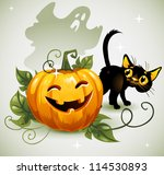 black cat halloween pumpkin and ... | Shutterstock .eps vector #114530893